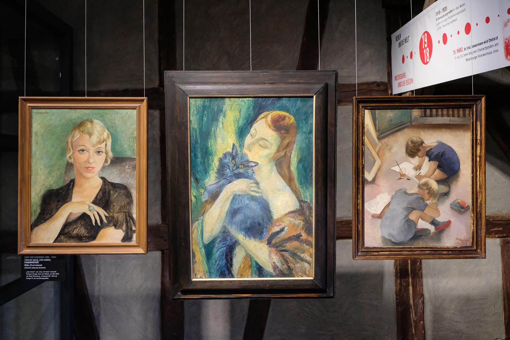 """Drei Kunstwerke der Ausstellung """"Die 1920er in Meersburg"""""""